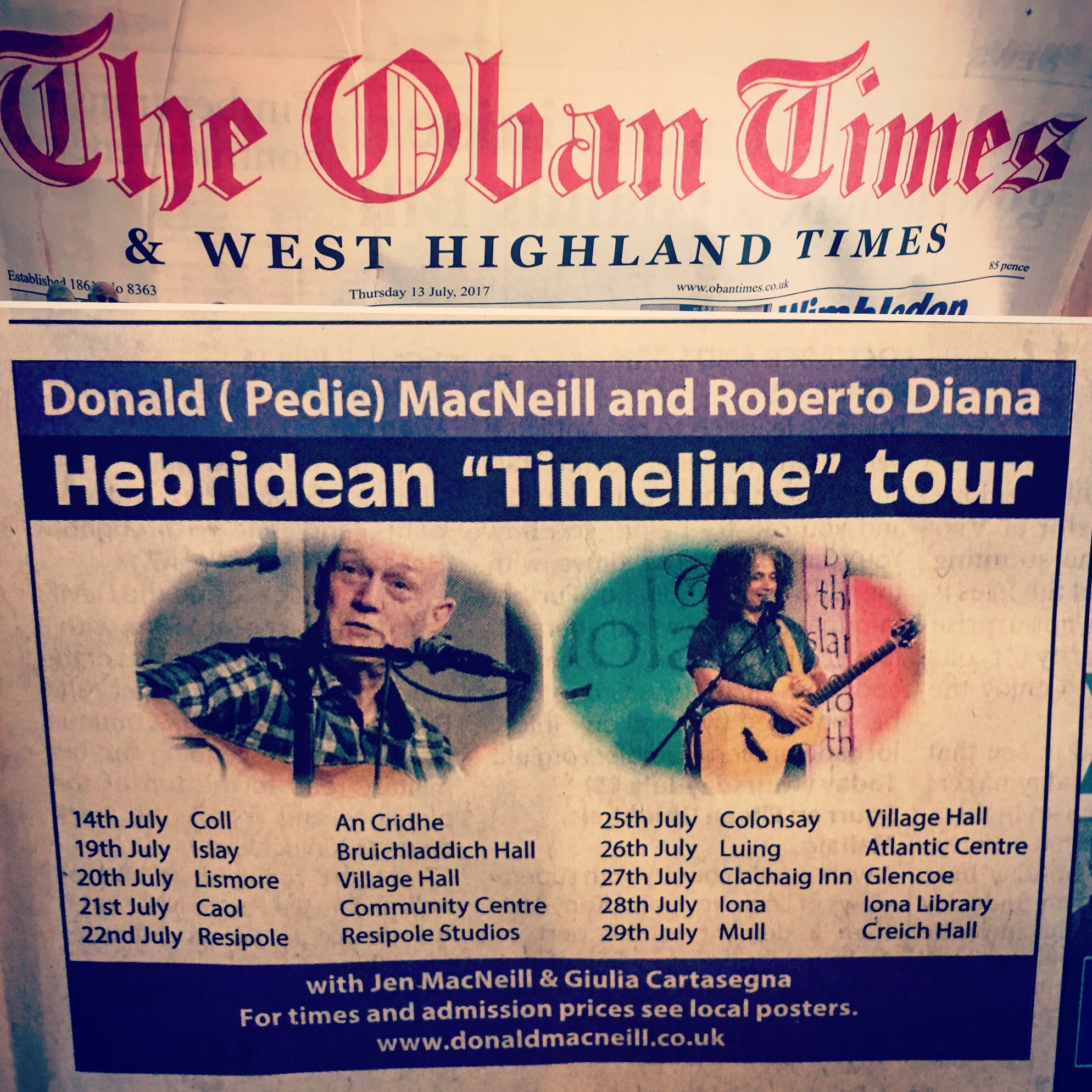 The Oban Times Scotland - Roberto Diana Tour
